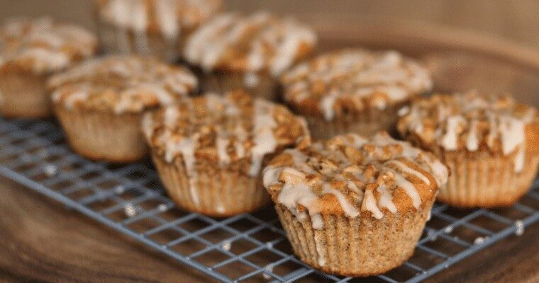 coffee cake muffins on a wire rack