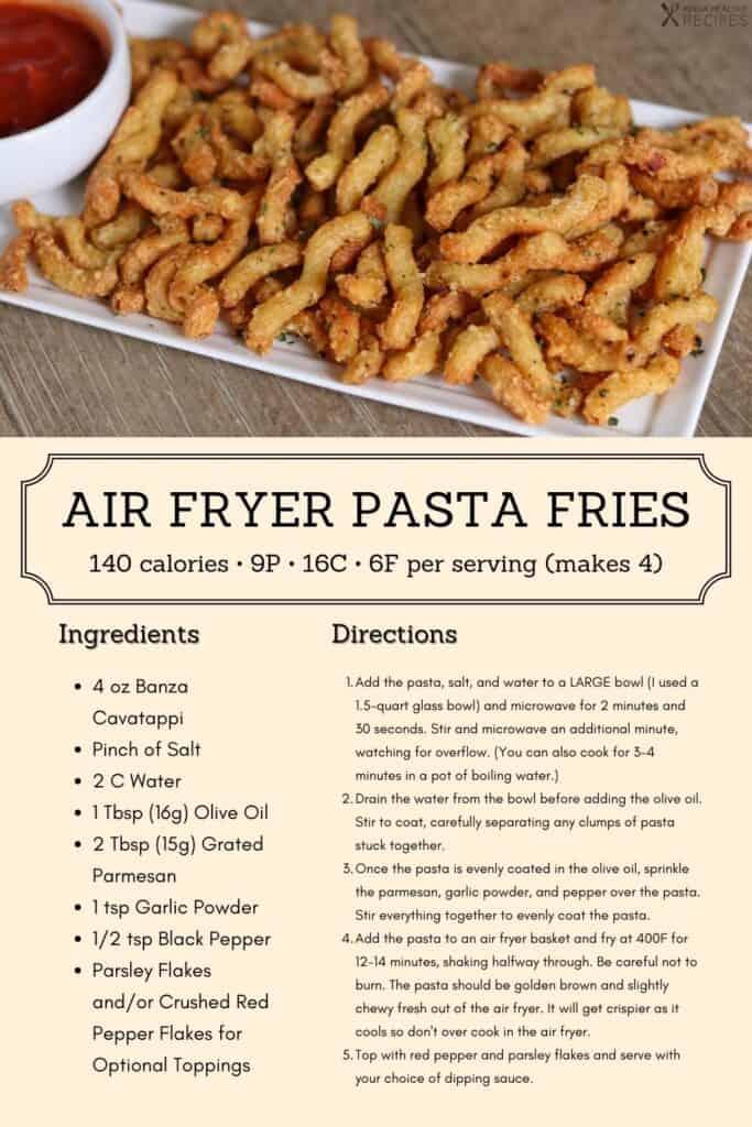 pasta fries recipe infographic