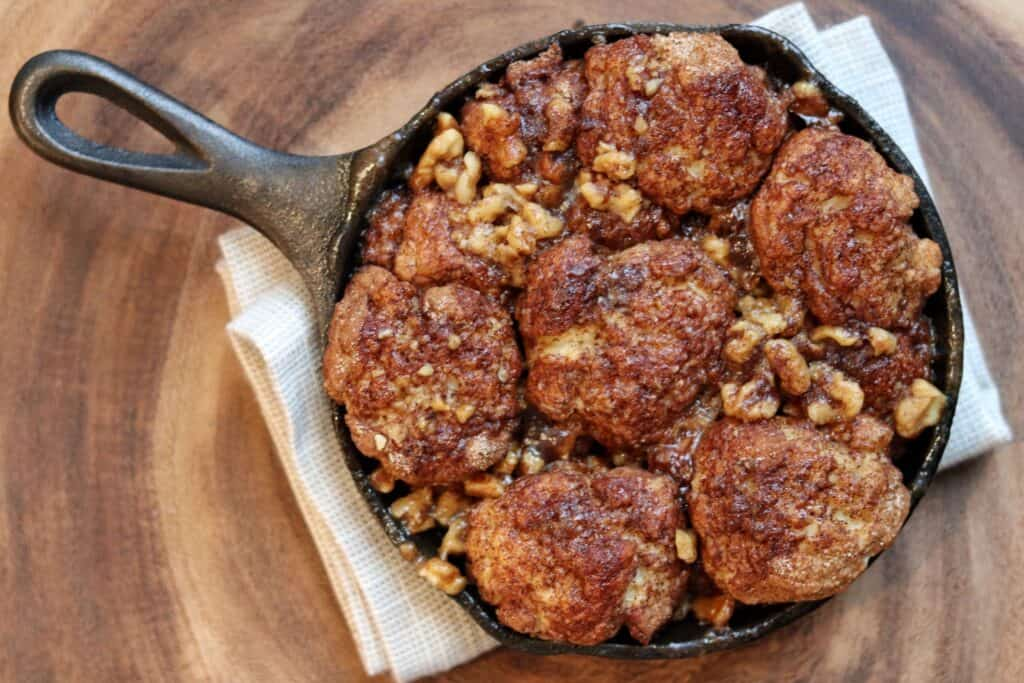 monkey bread in a cast iron skillet