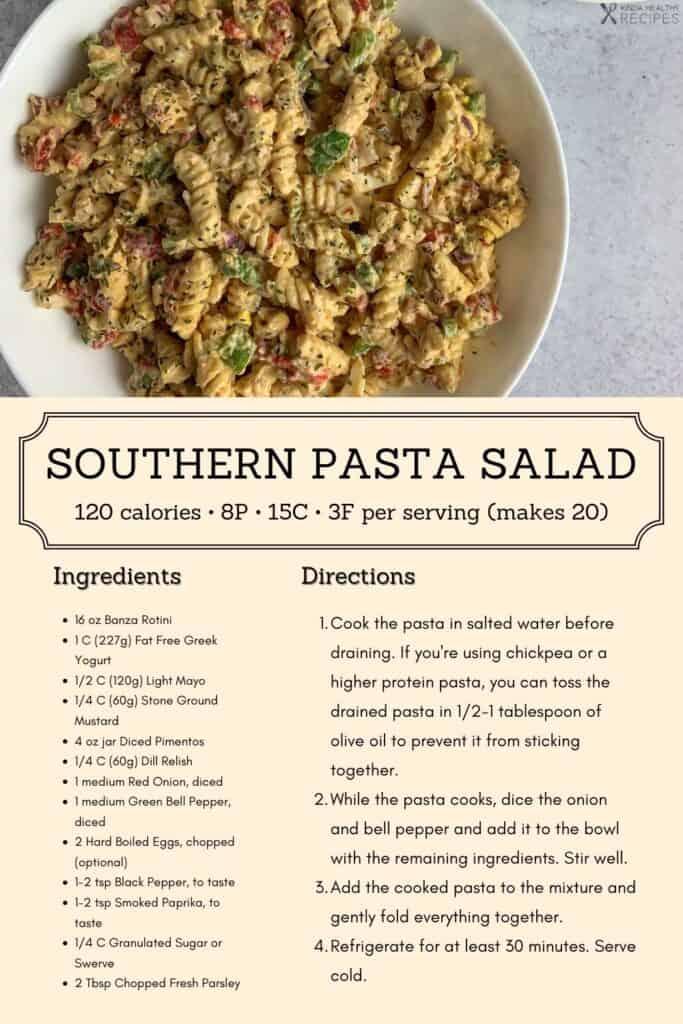 Banza pasta salad recipe infographic