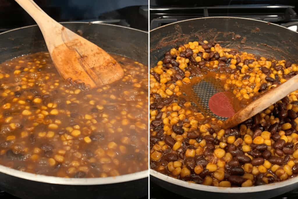 the black beans and corn before and after reducing for 12-15 minutes