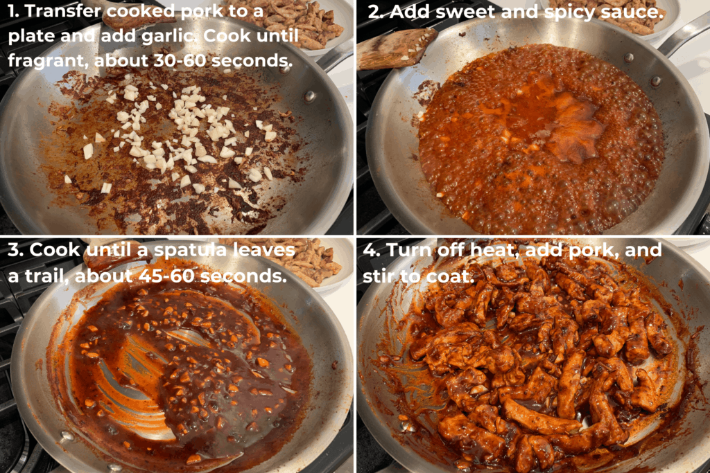 making the sweet and spicy sauce after cooking the pork