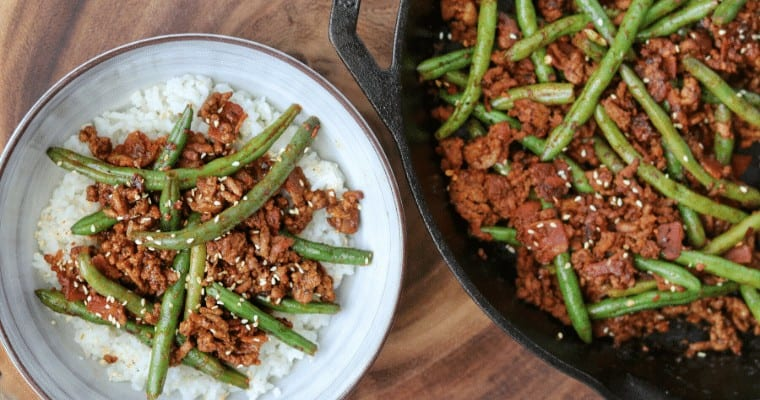 Sriracha BBQ Ground Beef and Green Beans