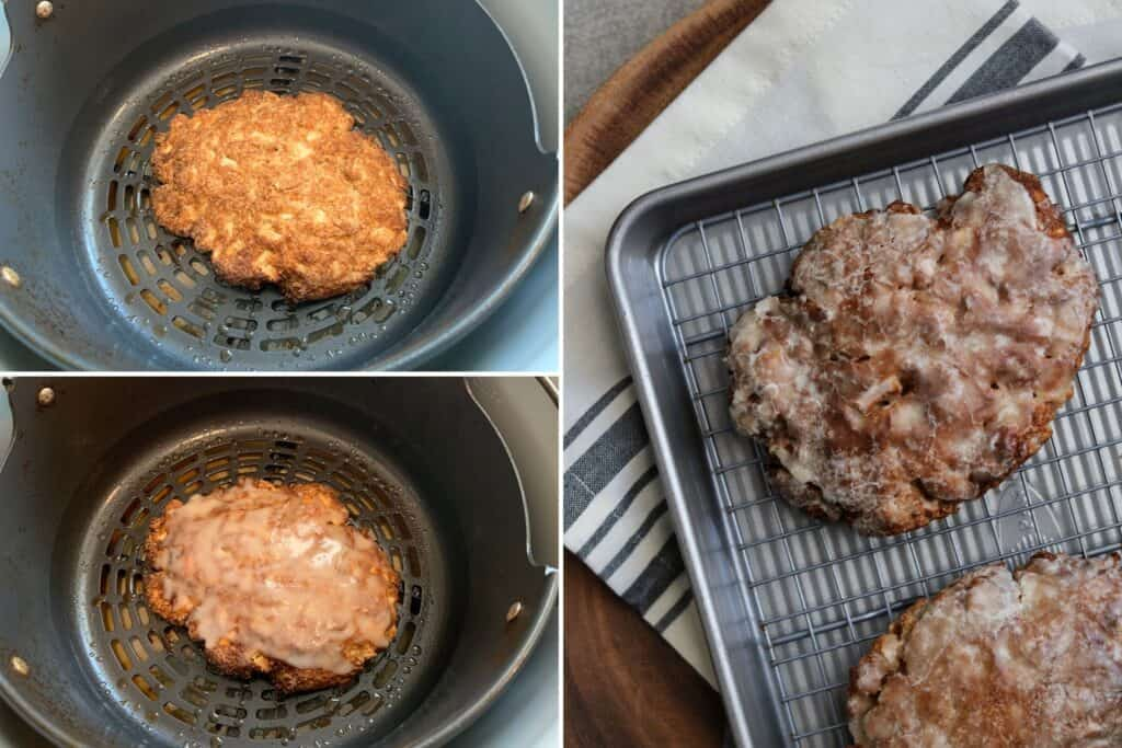apple fritter after air frying and adding the sugar free glaze