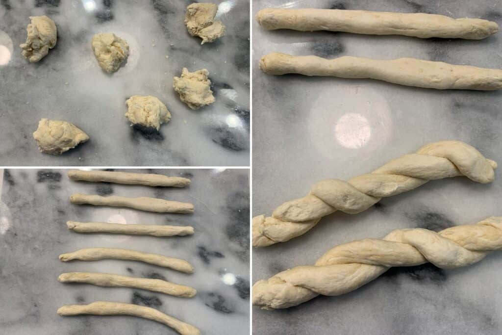 6 pieces of the dough before and after rolling and braiding
