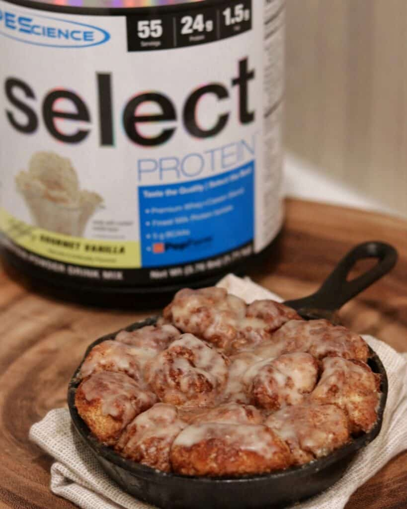 monkey bread skillet with pescience select protein powder in the background