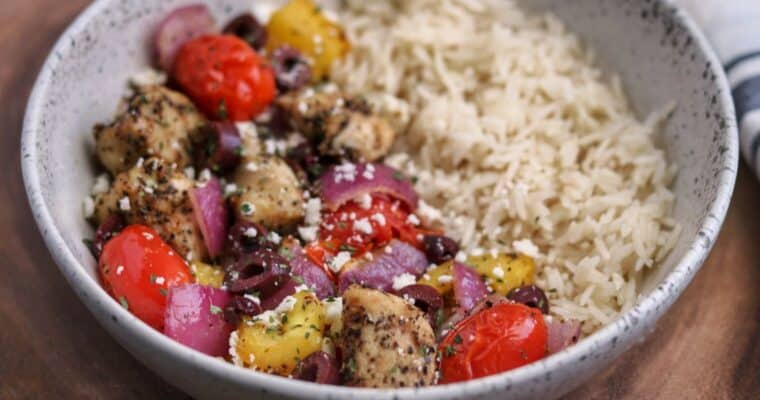greek chicken and vegetables with feta cheese and kalamata olives