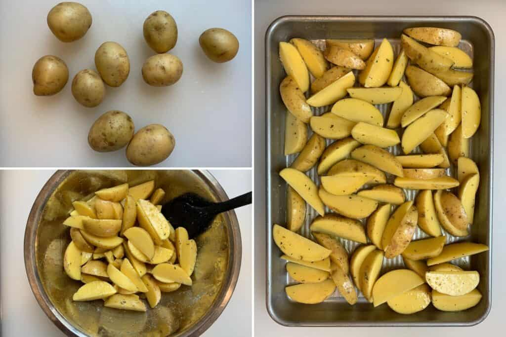 cutting and baking potato wedges