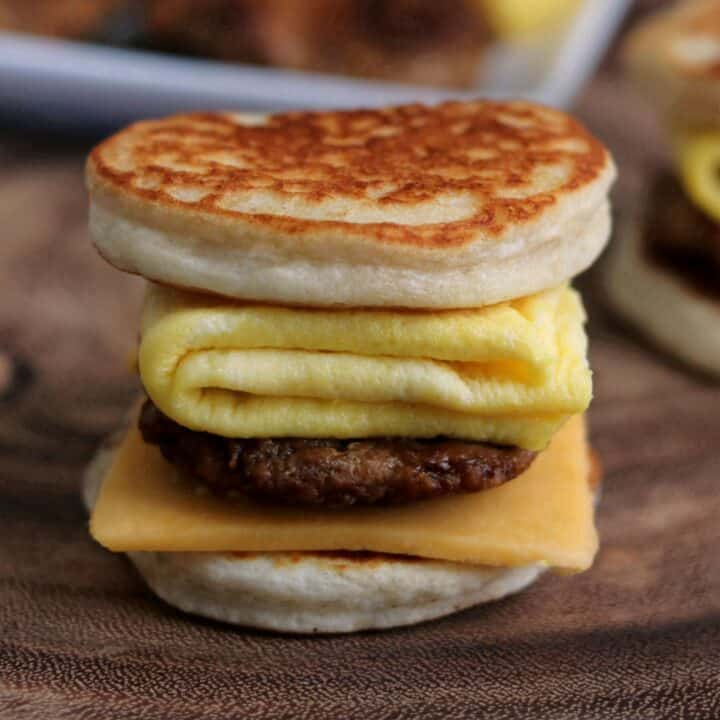 chicken sausage, egg, and cheese homemade McGriddle