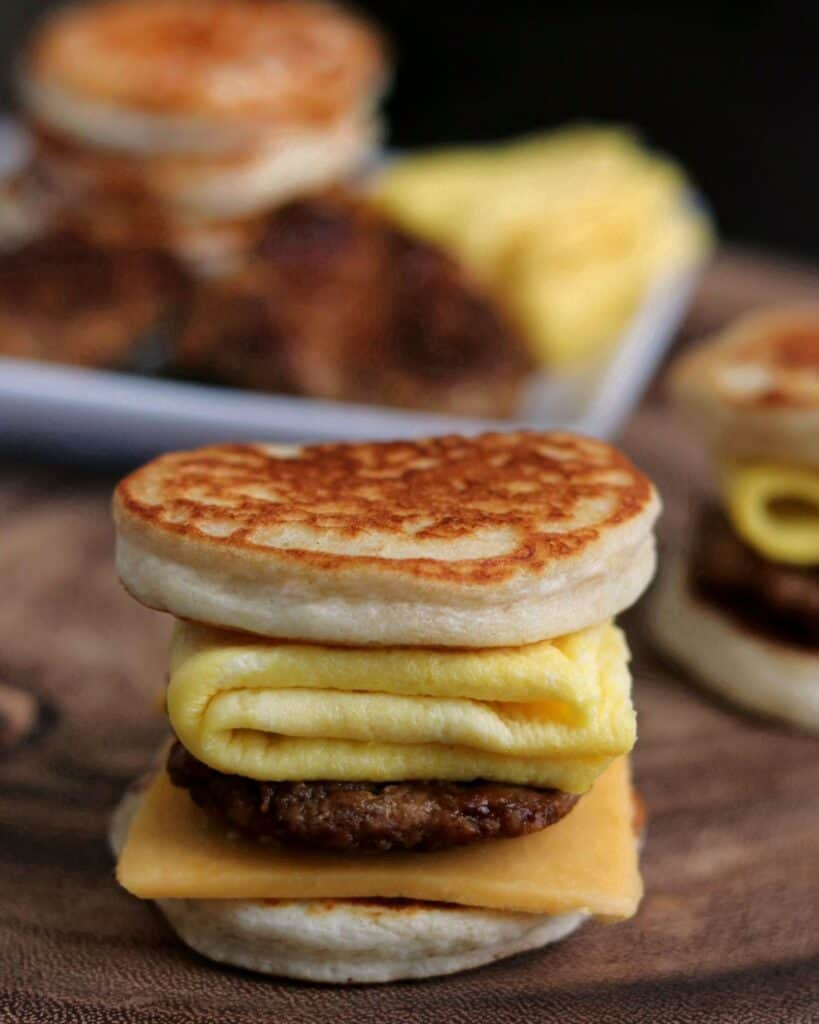 chicken sausage egg and cheese homemade McGriddle