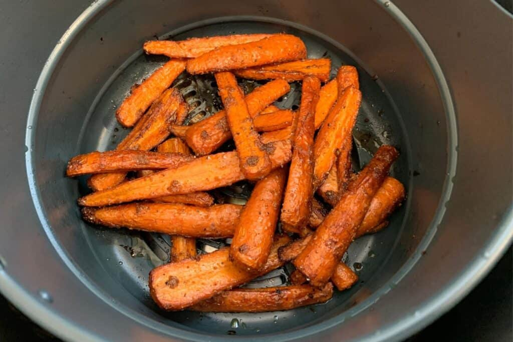 air fried carrots in the Instant Pot Duo Crisp basket