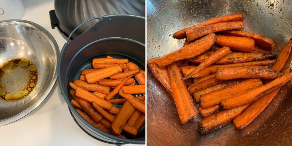 air fried carrots tossed with garlic powder, salt, and black pepper