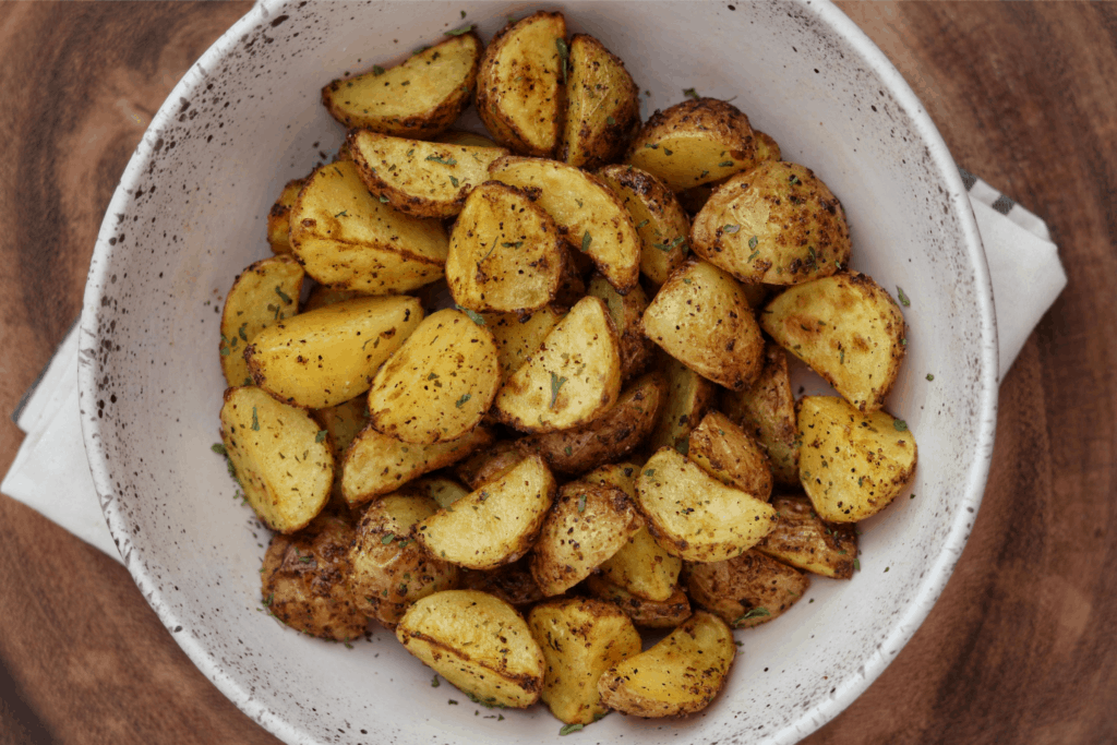 Greek potatoes in a bowl