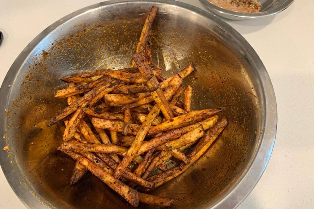 cajun fries after air frying a second time