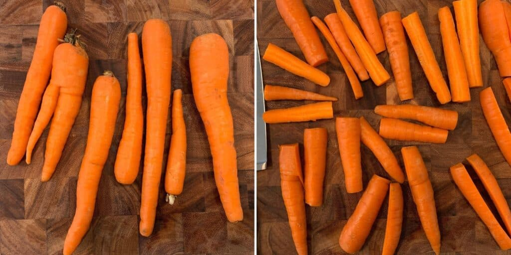 carrots cut into halved 3 inch pieces