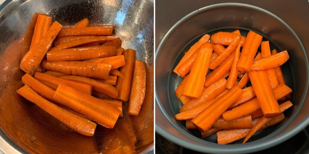 carrots tossed with olive oil and balsamic vinegar before air frying