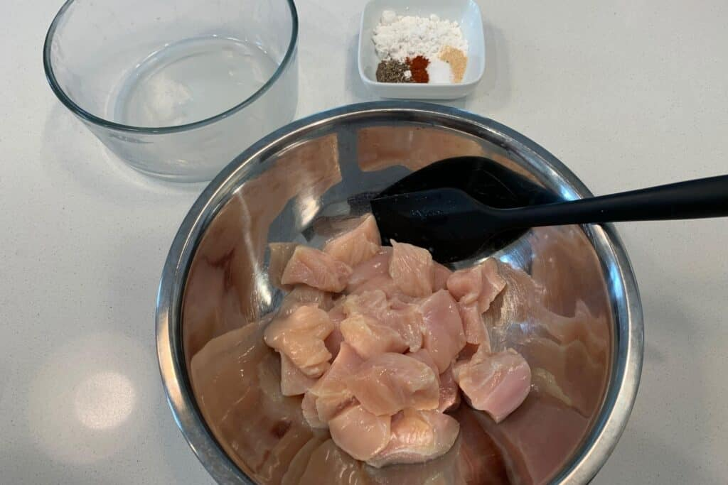 diced chicken breast drained before adding the seasoning