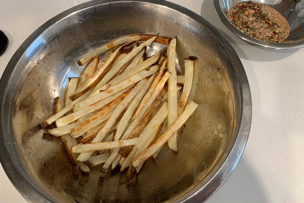 air fried fries before adding the cajun seasoning