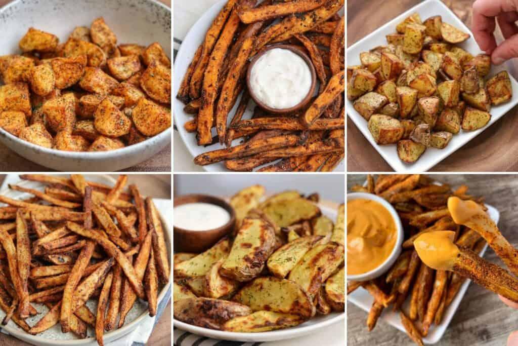 Mexican potatoes, spicy sweet potato fries, Greek potatoes, cajun fries, ranch potato wedges, nacho fries