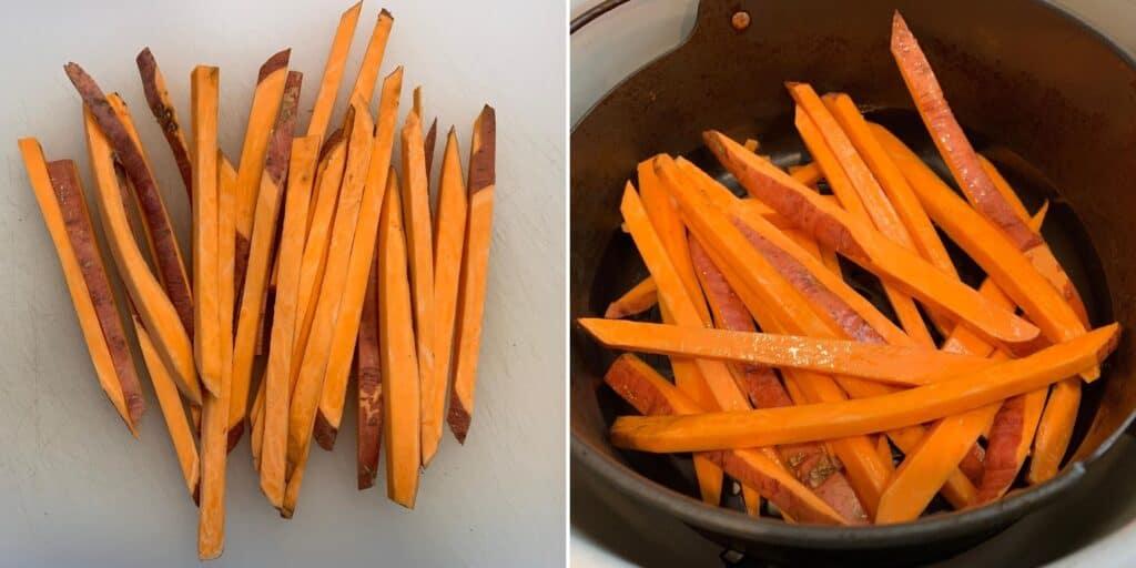sweet potato fries in the ninja foodi air fryer basket