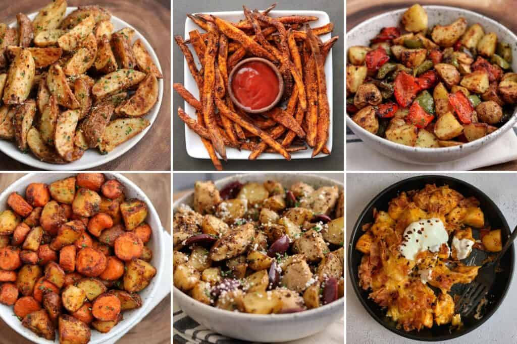garlic parmesan red potatoes, cajun sweet potato fries, breakfast potatoes, carrots and potatoes, Greek chicken and potatoes, and loaded chicken and potatoes