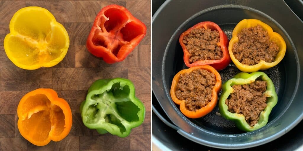 4 bell peppers stuffed with ground beef in an air fryer basket