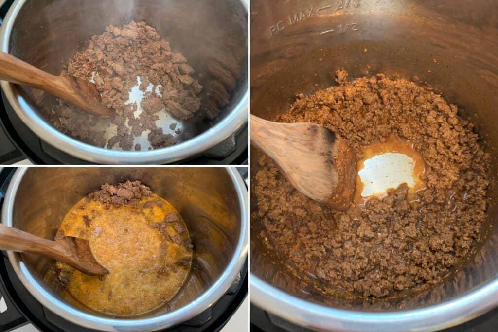browned ground beef before and after cooking down the chipotle cerveza mixture