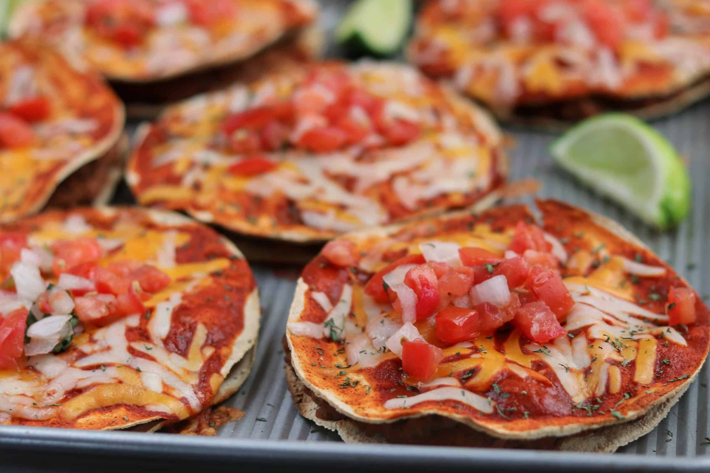 copycat Taco Bell Mexican Pizzas on a baking sheet