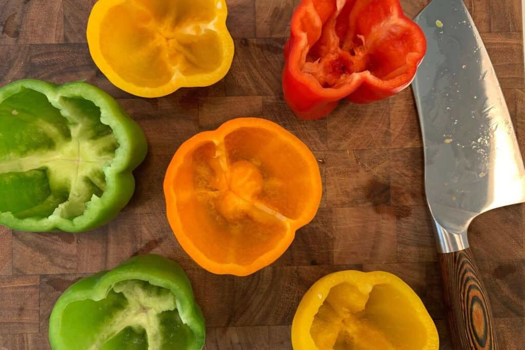 6 bell peppers with the seeds and membranes removed