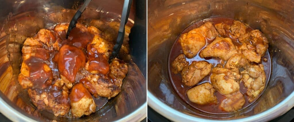pressure cooking chicken thighs with bbq sauce