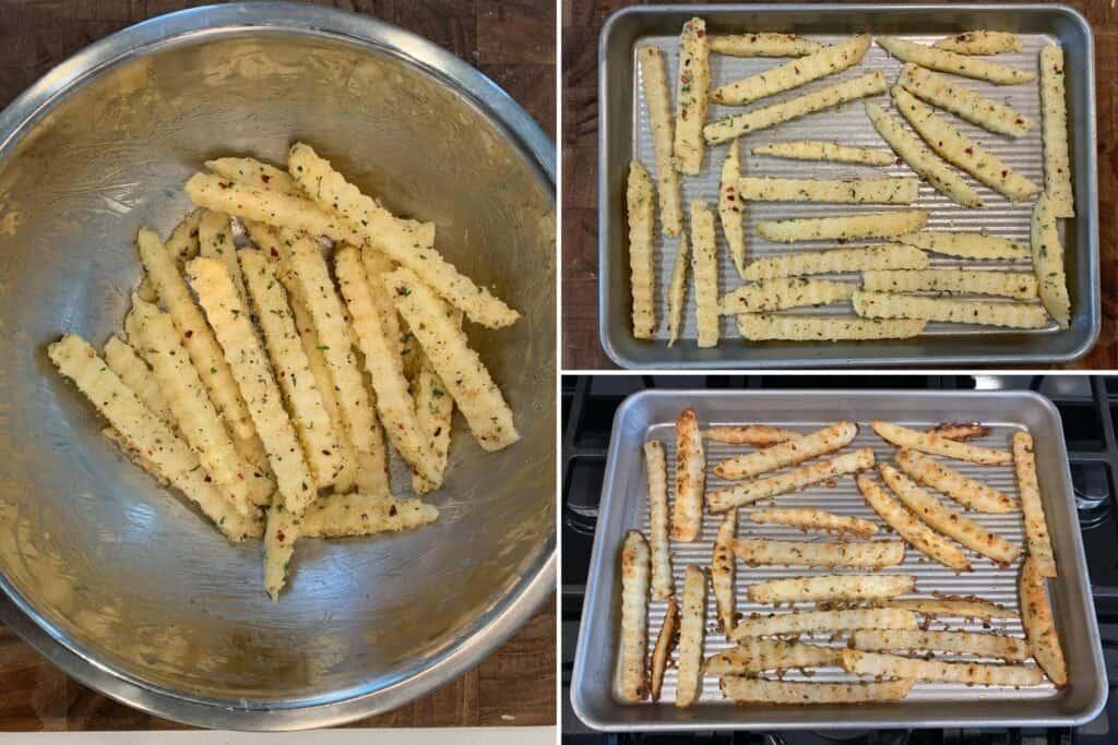 garlic parmesan crinkle cut fries on a baking sheet