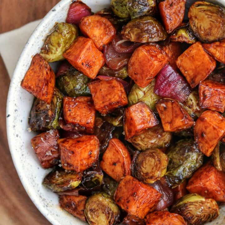 Air Fryer Brussels Sprouts and Sweet Potatoes