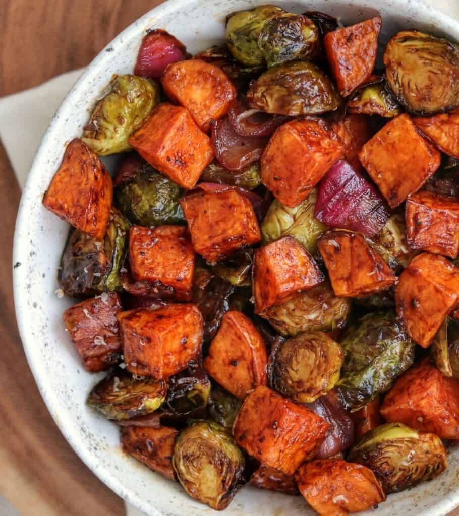 balsamic bbq glazed brussels sprouts and sweet potatoes