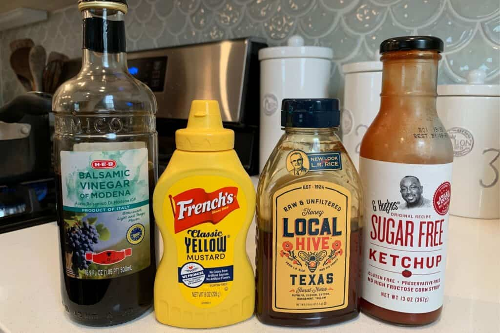 balsamic vinegar, yellow mustard, honey, and sugar free ketchup