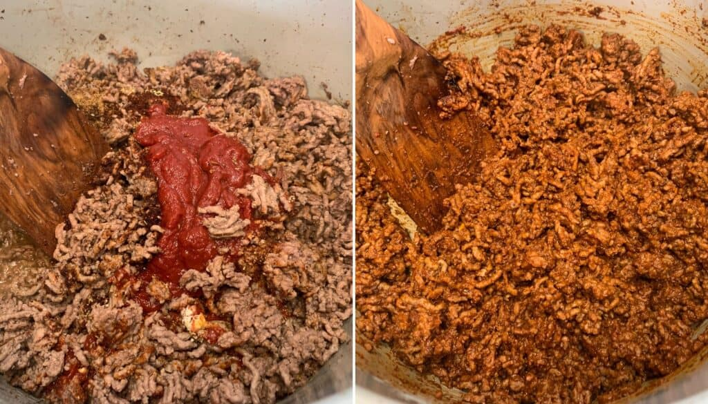 adding tomato paste to cooked ground beef