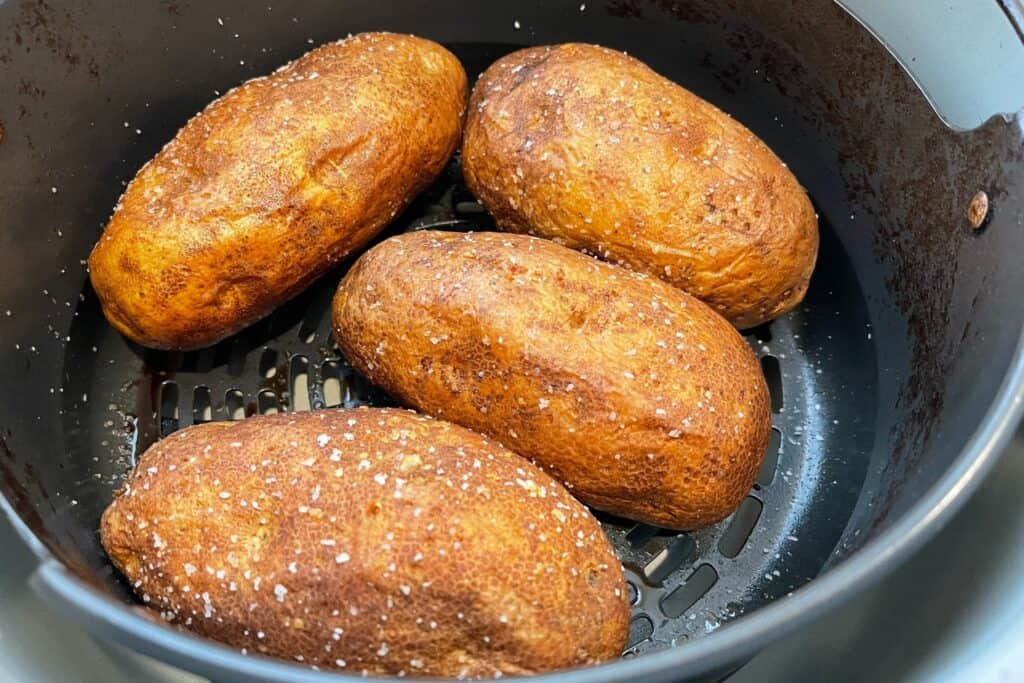 finished baked potatoes in the Ninja Foodi
