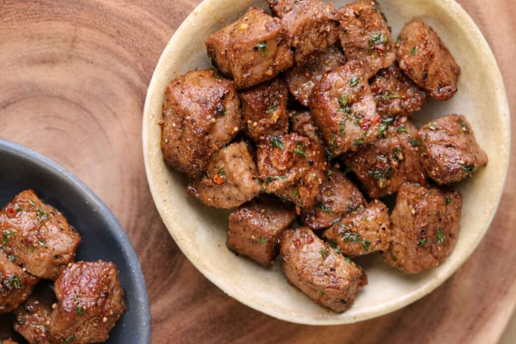 steak bites in a bowl