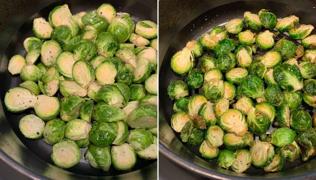 brussels sprouts before and after air frying