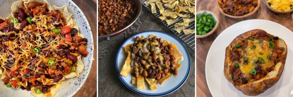 chili pie, Frito pie, and chili stuffed baked potato
