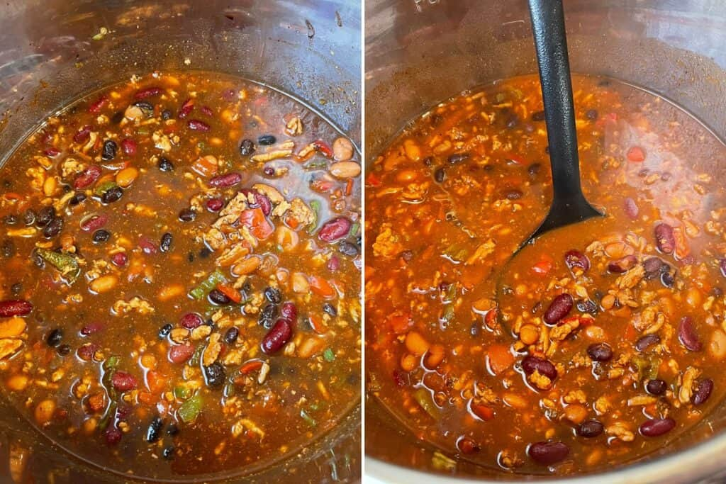 turkey chili before and after pressure cooking