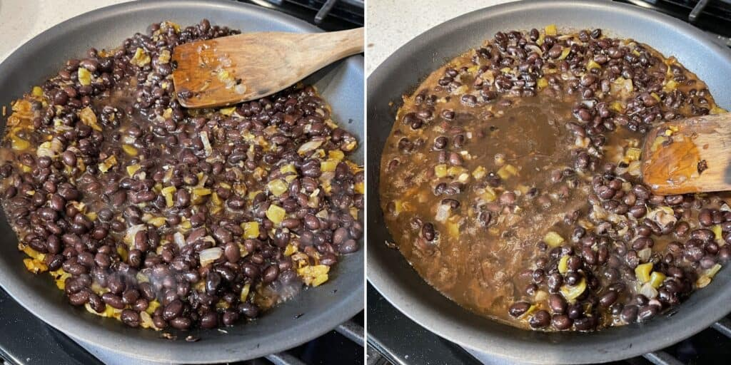 reducing the black beans and broth