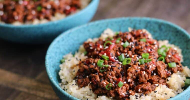 Spicy Sesame Ground Beef and Quinoa Bowls
