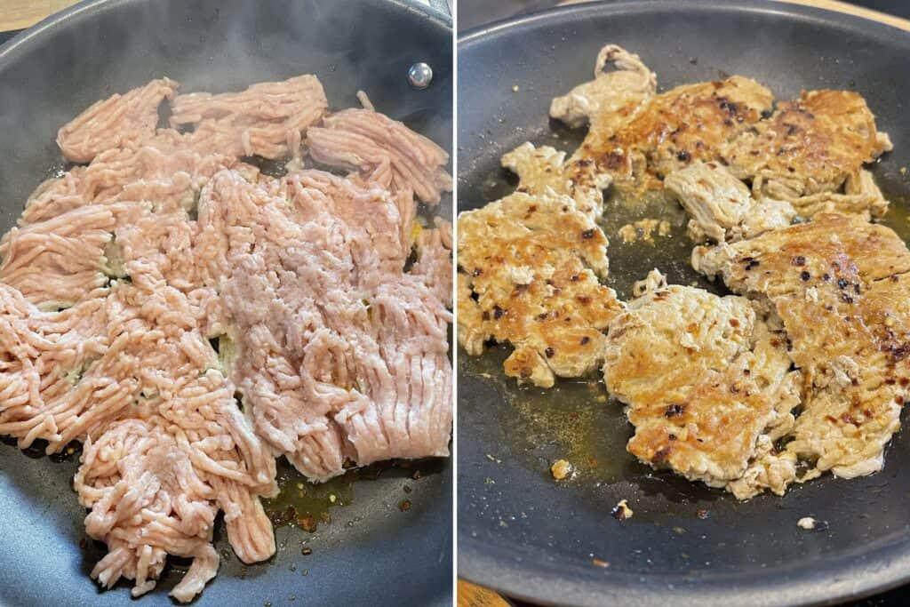 browning ground chicken in a skillet