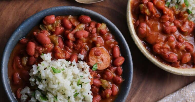 Instant Pot Red Beans and Cauliflower Rice