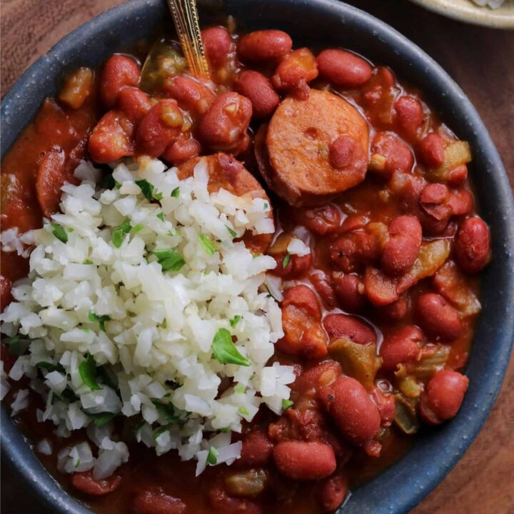 red beans and cauliflower rice in a bowl