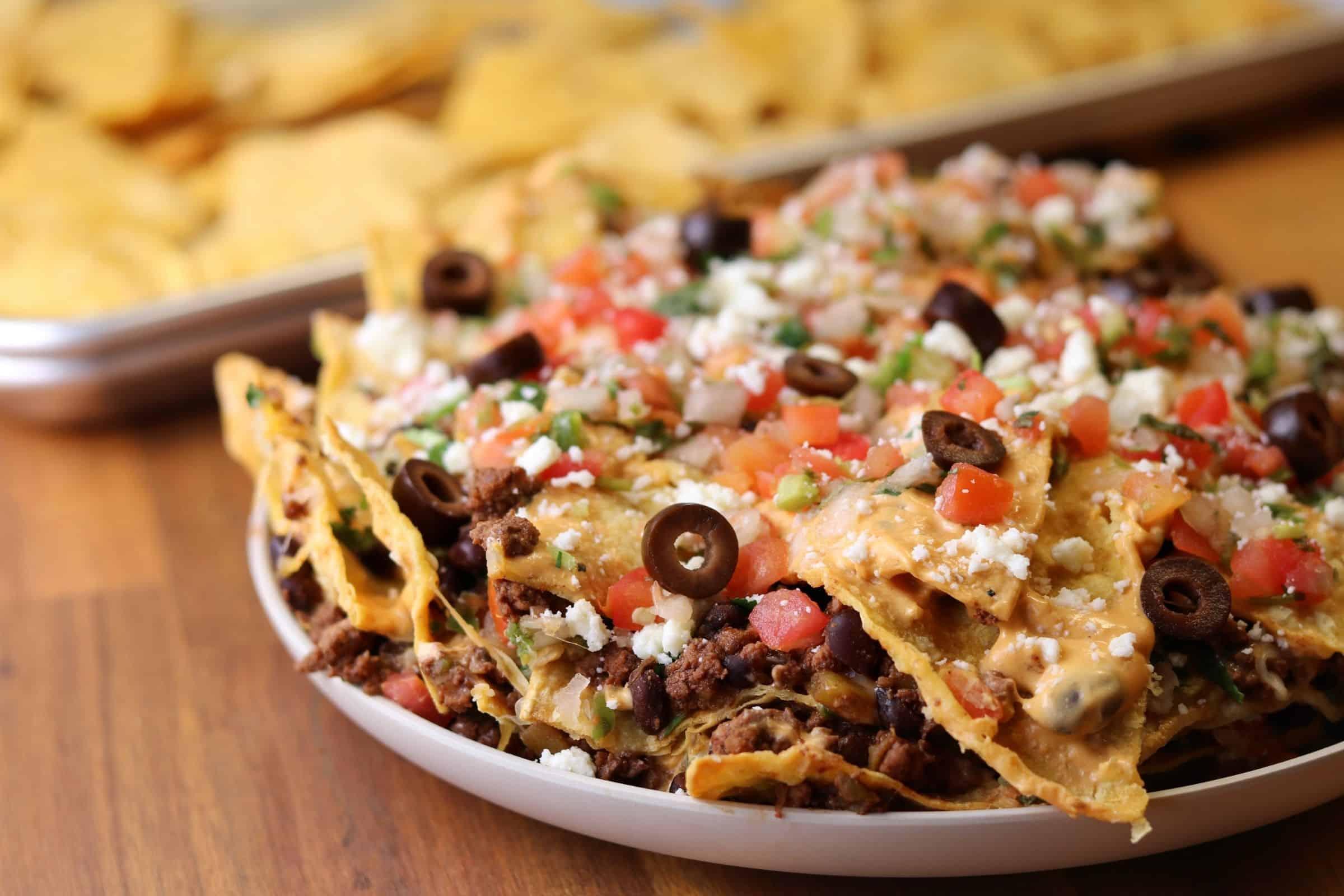 trash can nachos on a plate