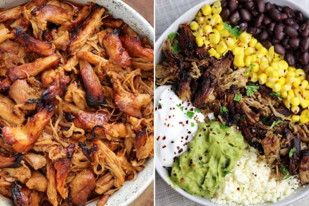 instant pot bbq pulled chicken thighs and ninja foodi pork tenderloin carnitas