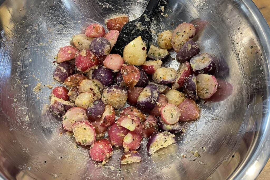 parmesan coated radishes before air frying final time