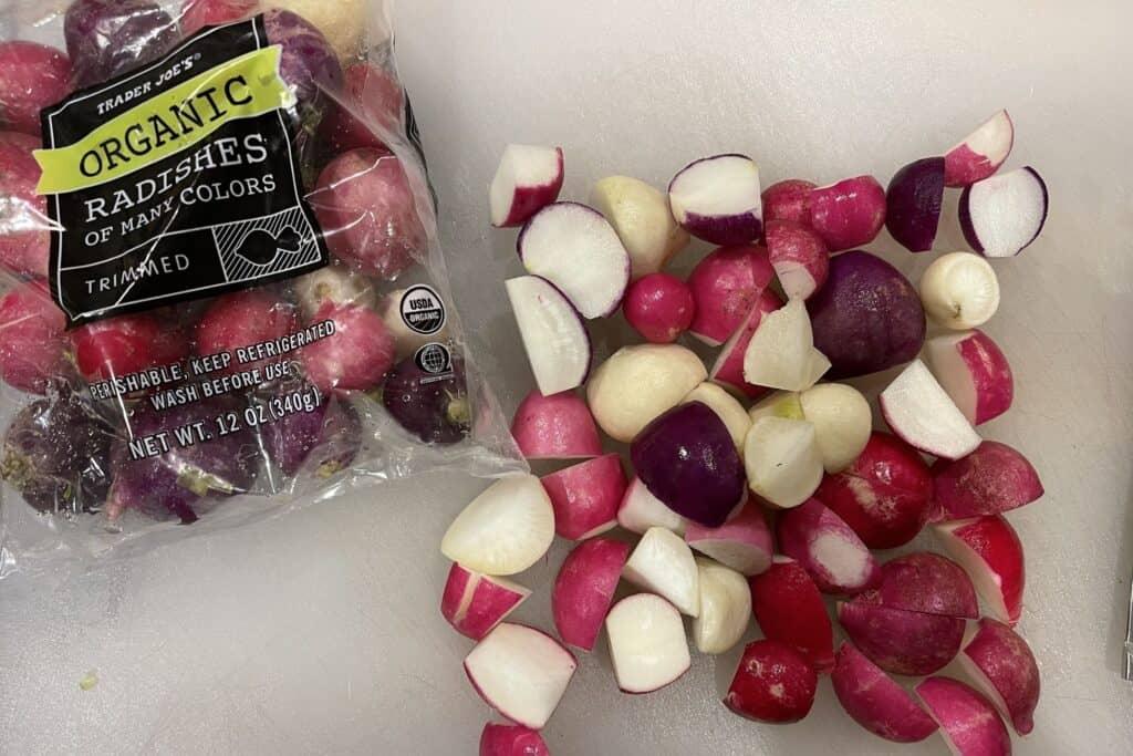 trader joe's radishes trimmed and quartered