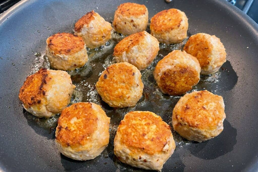 browning meatballs in olive oil